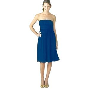 J. Crew Emily silk strapless dress in blue